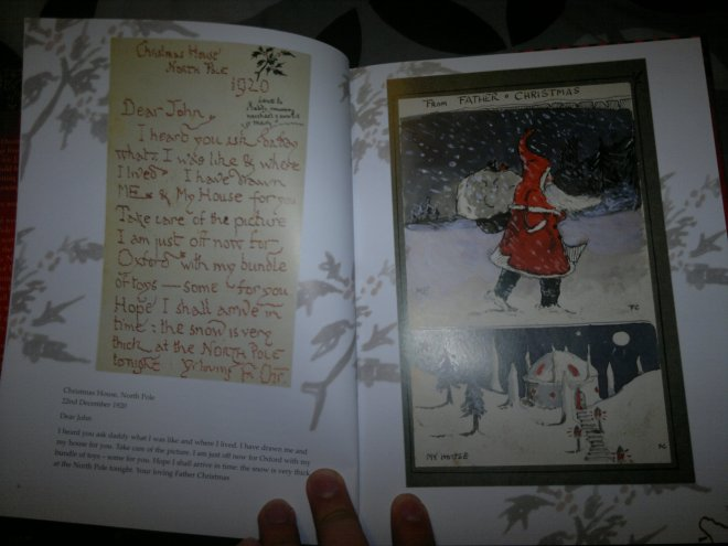 The first letter from Father Christmas, written to a three year old John in 1920. The letter itself is reproduced on the left, in shaky handwriting.