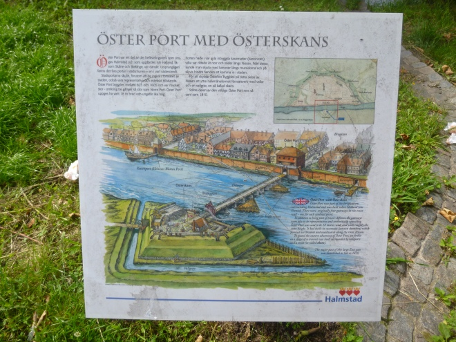 A diagram showing the fortifications around the town back when the area was actually Danish, not Swedish, and explaining the ports and gateways into the town.