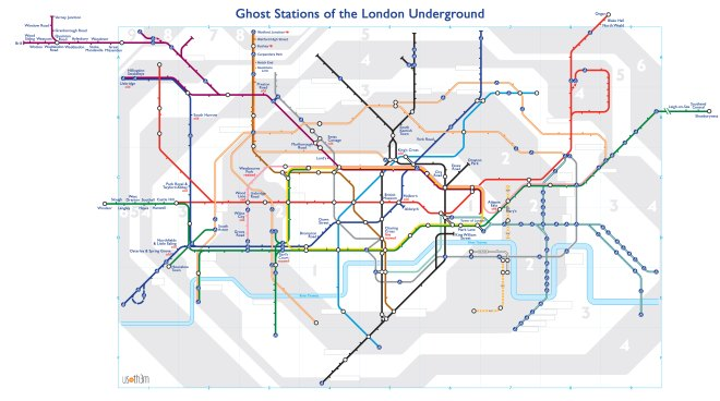 Created by Dylan Maryk, this tube station map is labelled only with tube stations which no longer exist - time capsules of the era in which they were used. For more information on it, visit http://londonist.com/2013/06/alternative-tube-maps-ghost-stations-on-the-london-underground.php