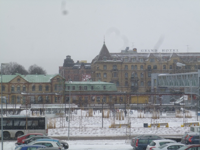 This is the view from my kitchen window. You can kind of see the snow falling if you look closely. This is the train station and a huge hotel.