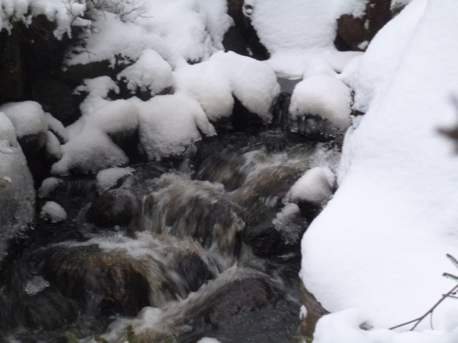 There was something almost magical about the water flowing over snowy rocks.