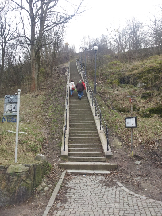 This climb is steeper than it looks - that tiny crown you can see in the distance is our end destination (also it's not actually tiny). This is the climb towards the Skansen Kronan, a several century old fort.