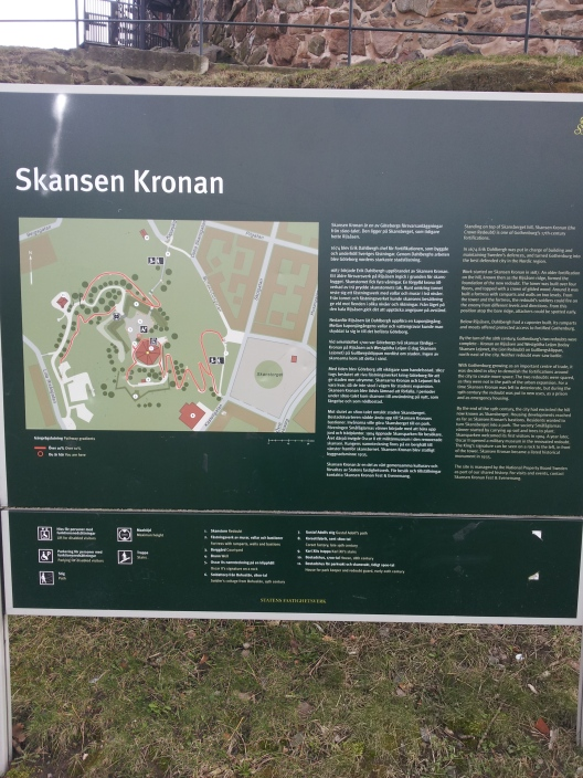 Here is an information board on the Skansen Kronan along with a map. The English section is photographed closer on the next picture.
