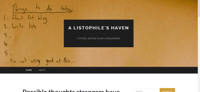 A Listophile's Haven home page